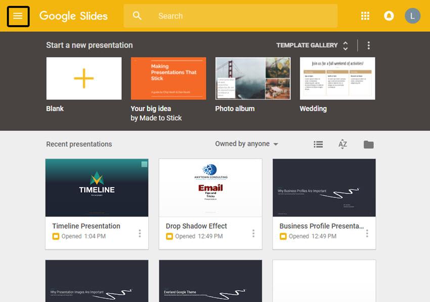 Google Slides Home Screen