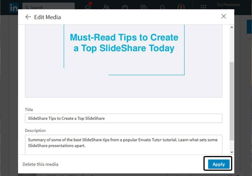 Title and Description section of your SlideShare