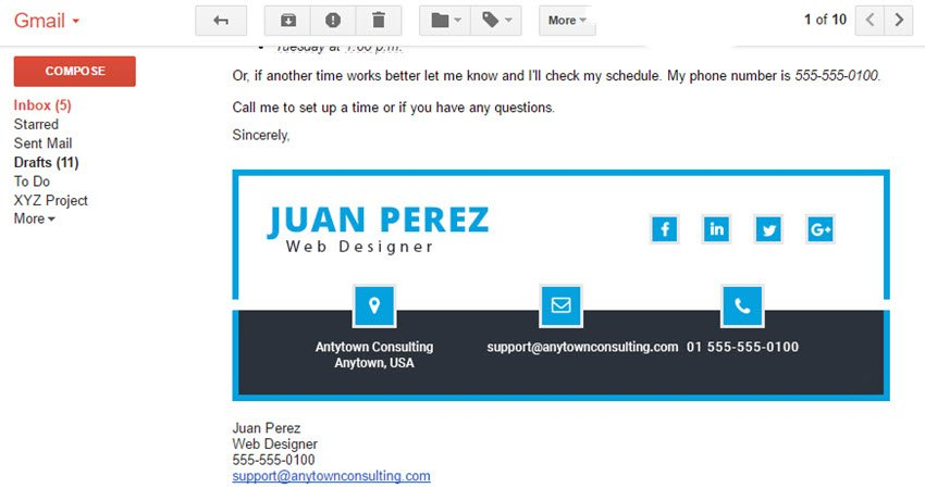 formal email signature template example