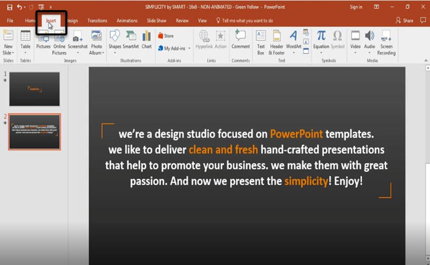 Insert tab on PowerPoint ribbon