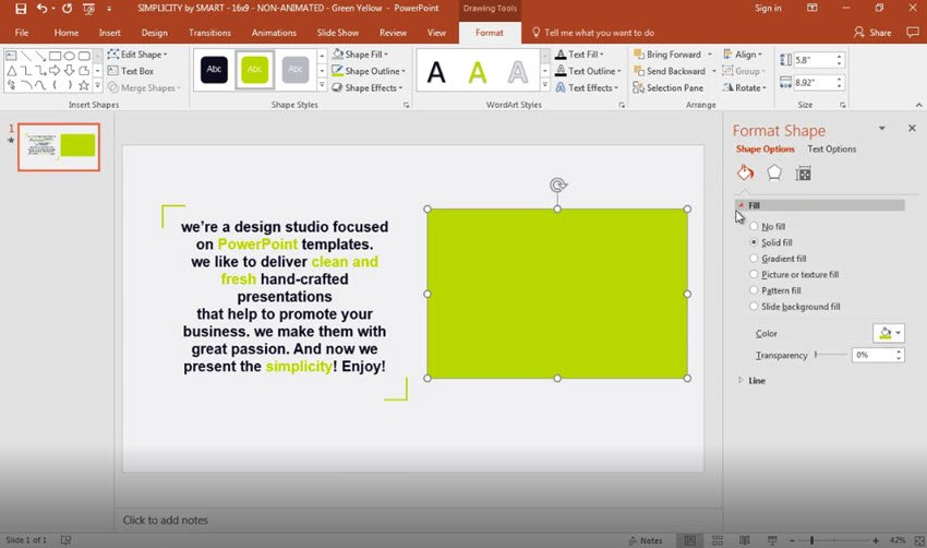 Open the PowerPoint Fill option