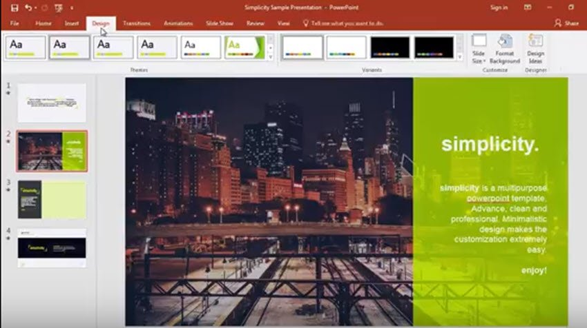 PowerPoint Design tab