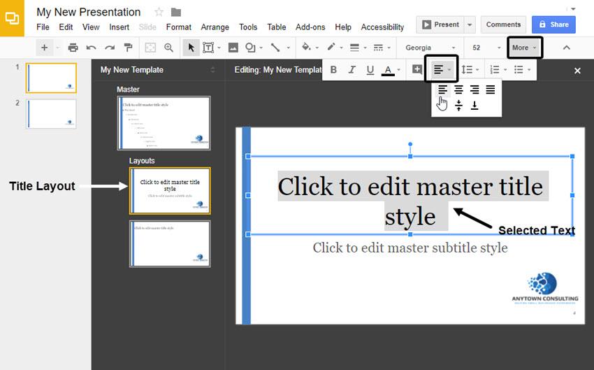 Title Slide of Google Slides master layouts