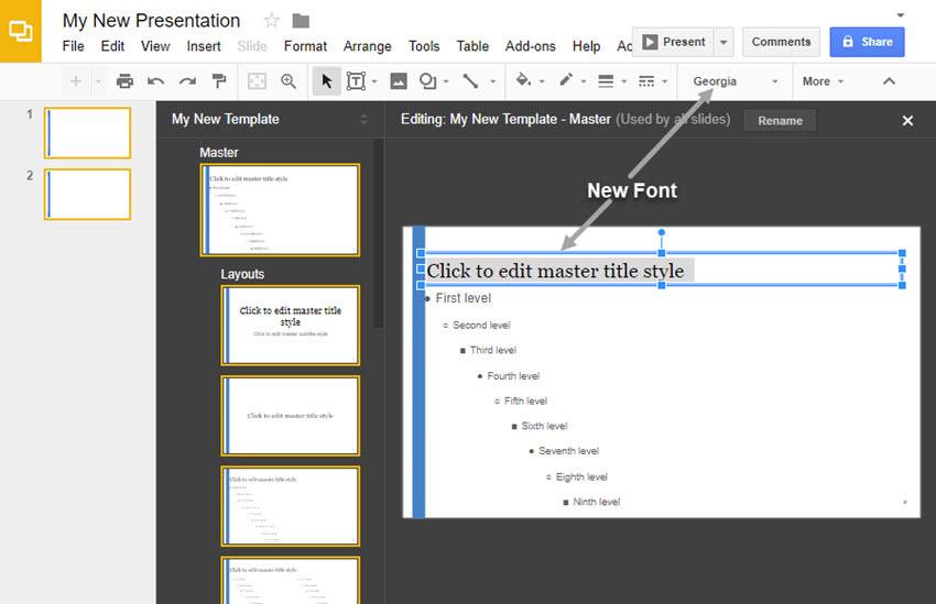 Changing the Master Slide Font