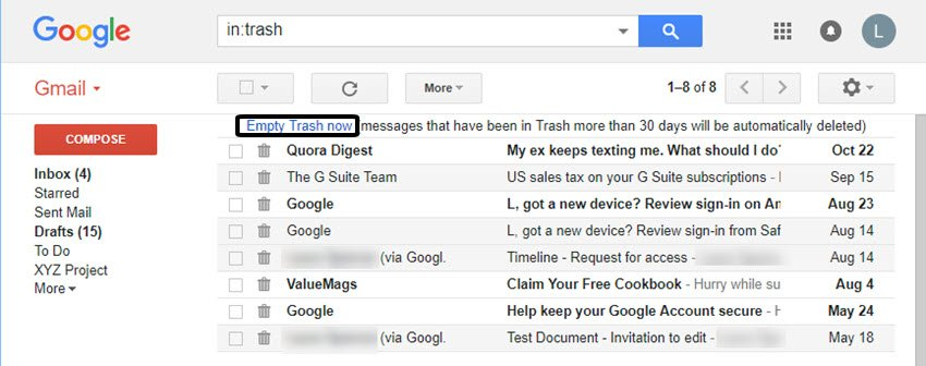 How to permanently delete Gmail emails with Empty Trash now link