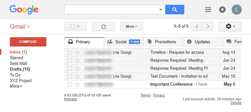 Gmail screen with email messages mass deleted