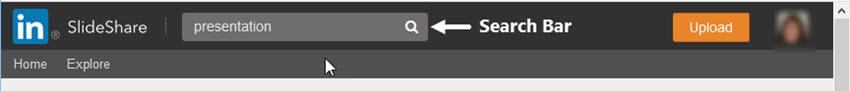 SlideShare search bar