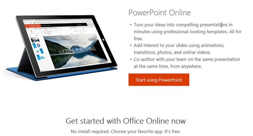 PowerPoint Online presentation software