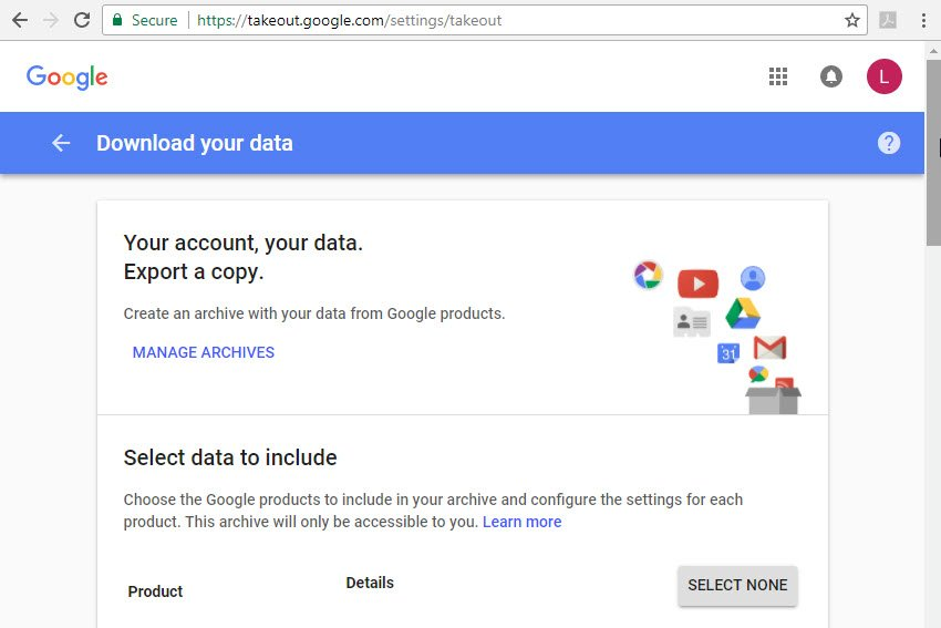 Google Takeout screen for Gmail email backup