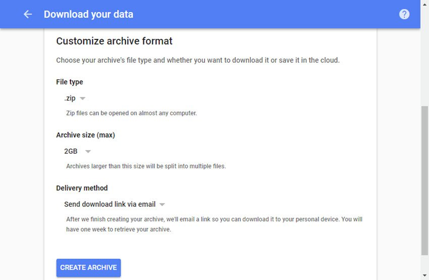 Define your Gmail backup archive format