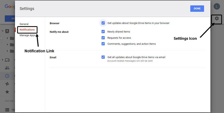 Google Drive Settings screen