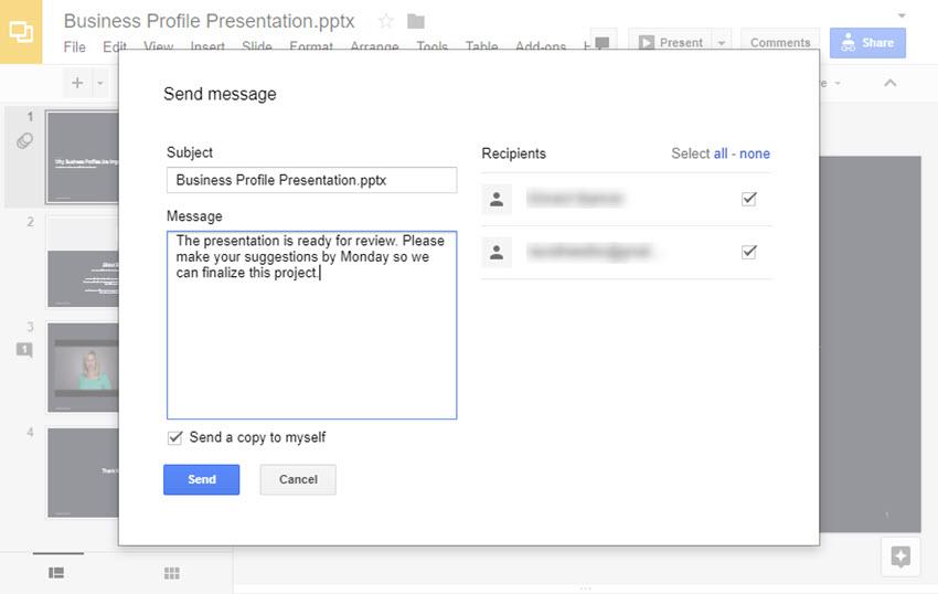 Send a message to online presentation collaborators