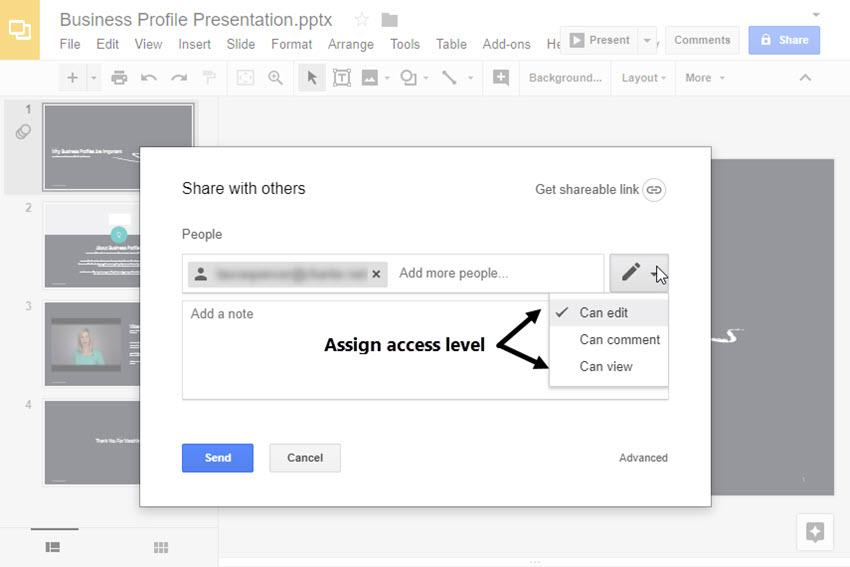 Assign access level
