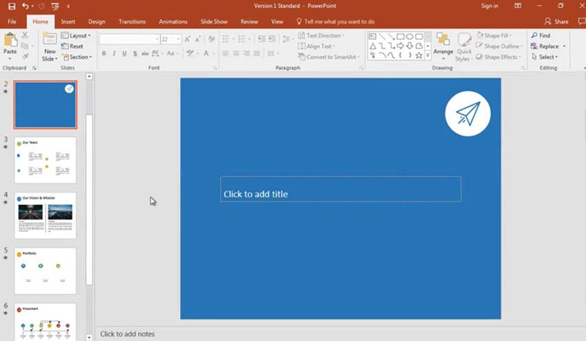 Blank PowerPoint slide