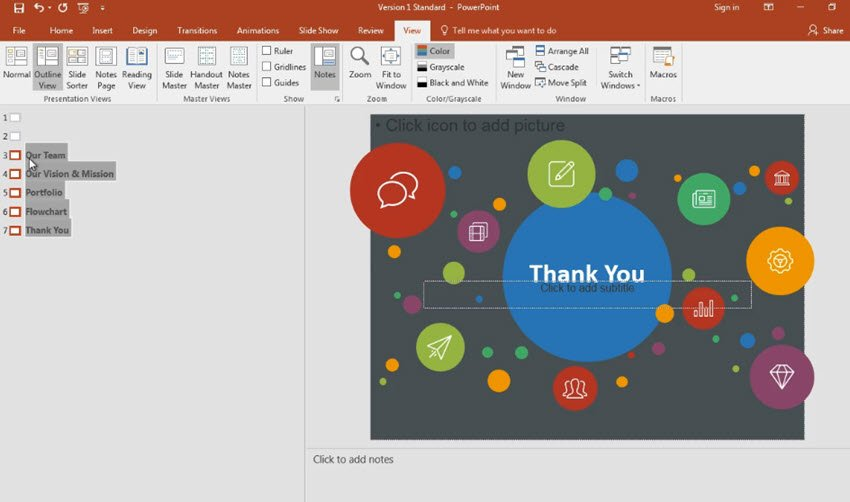 PowerPoint presentation structure