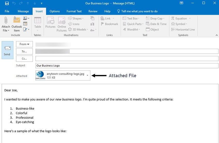 Microsoft Outlook email message with an attached file