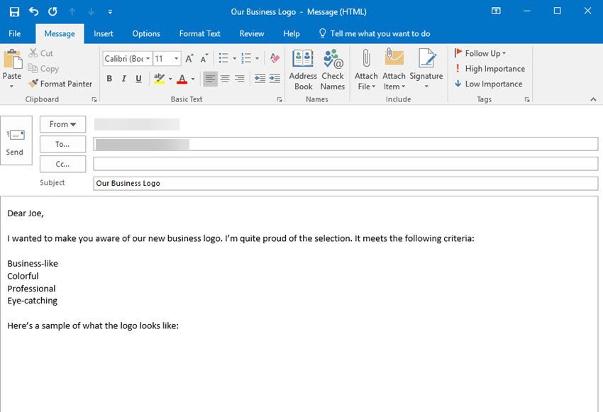How to compose an email in MS Outlook