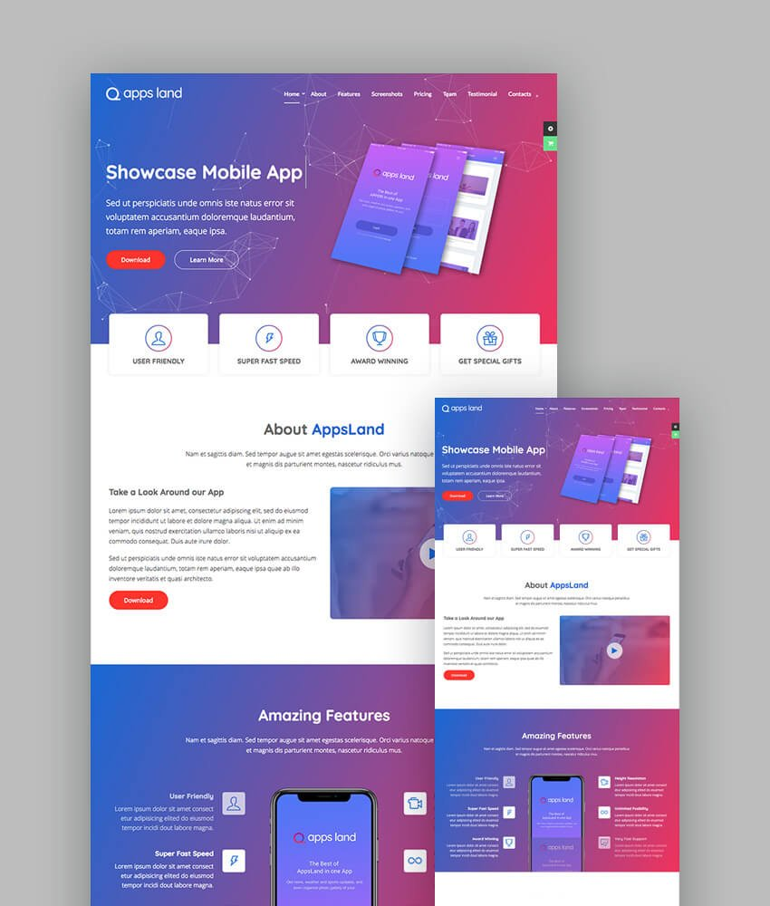 AppsLand Colorful Landing Page template