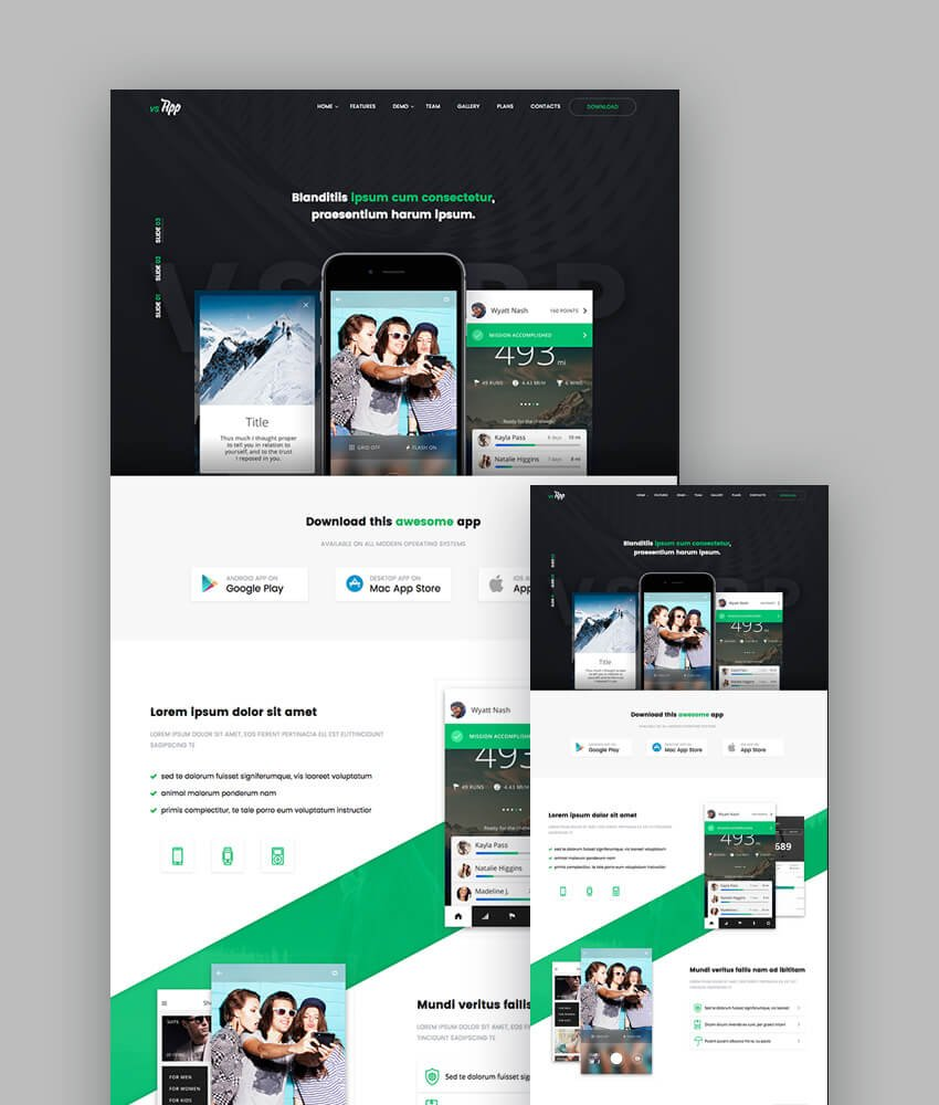 VSApp Landing Page Templates for Mobile Apps
