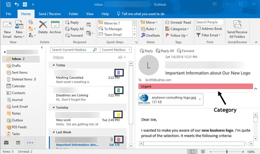 Microsoft Outlook inbox organized with categories