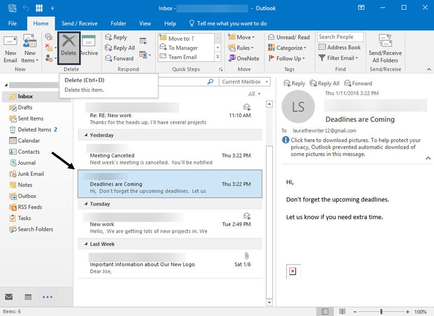 Deleting an old message in MS Outlook