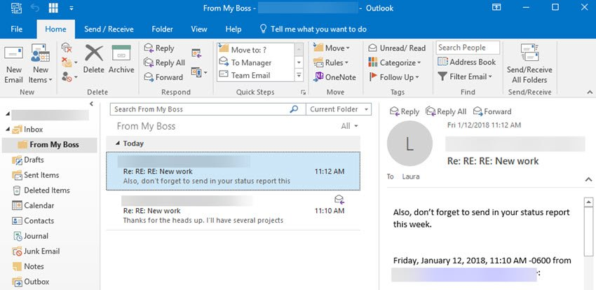 Redundant message removed from folder
