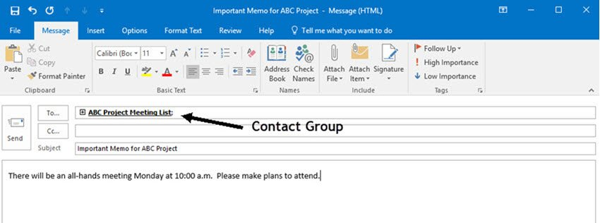 Type the contact group name into the To field