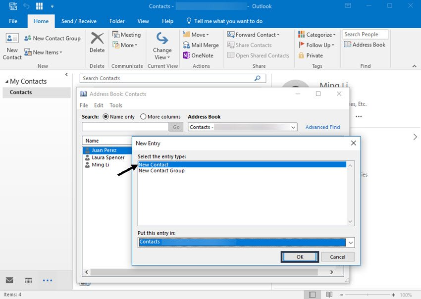 Outlook New Entry dialog box