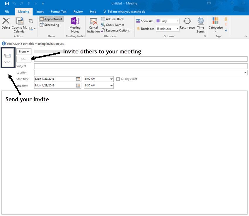 New Meeting Invitation screen