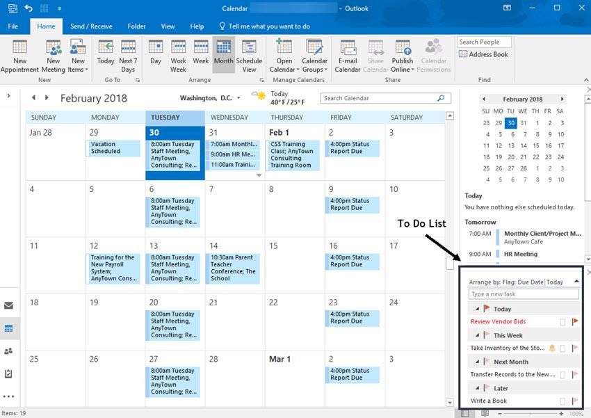 Task list on the Outlook calendar