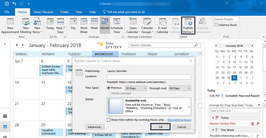 Publish Calendar to Custom Server dialog box