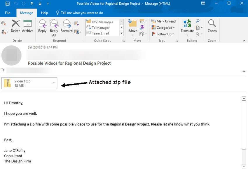 Email with attached zip file