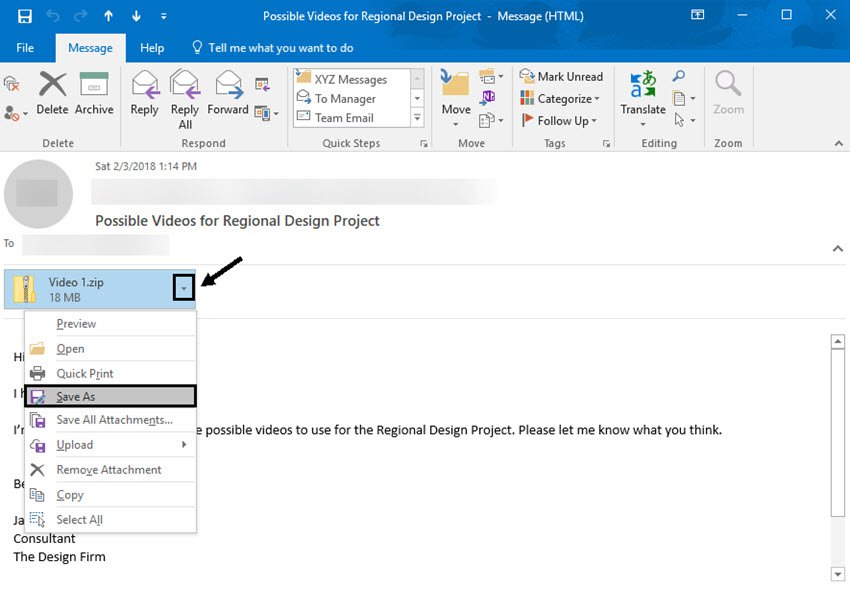 Accessing zipped files in Outlook