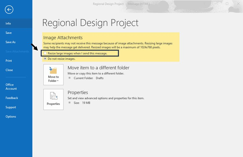 Resize large images in Outlook