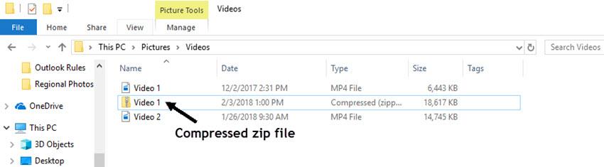 A compressed zip file