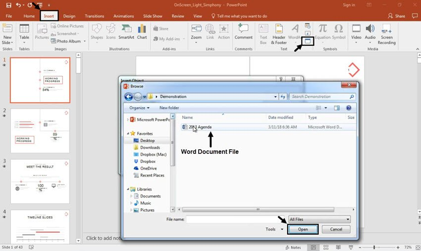 Insert Word file into PowerPoint