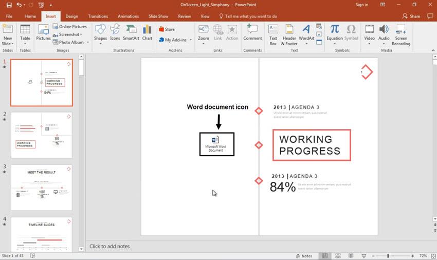 Word document file inside PowerPoint presentation
