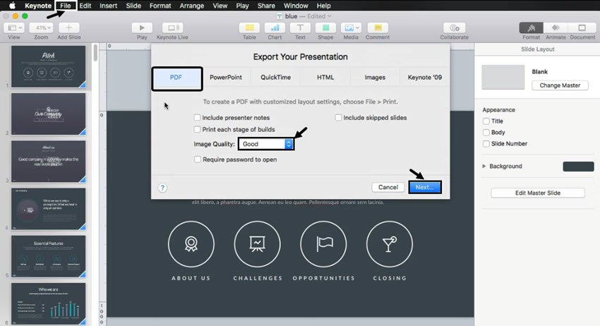 Export a Keynote presentation to PDF before sharing in email or social media
