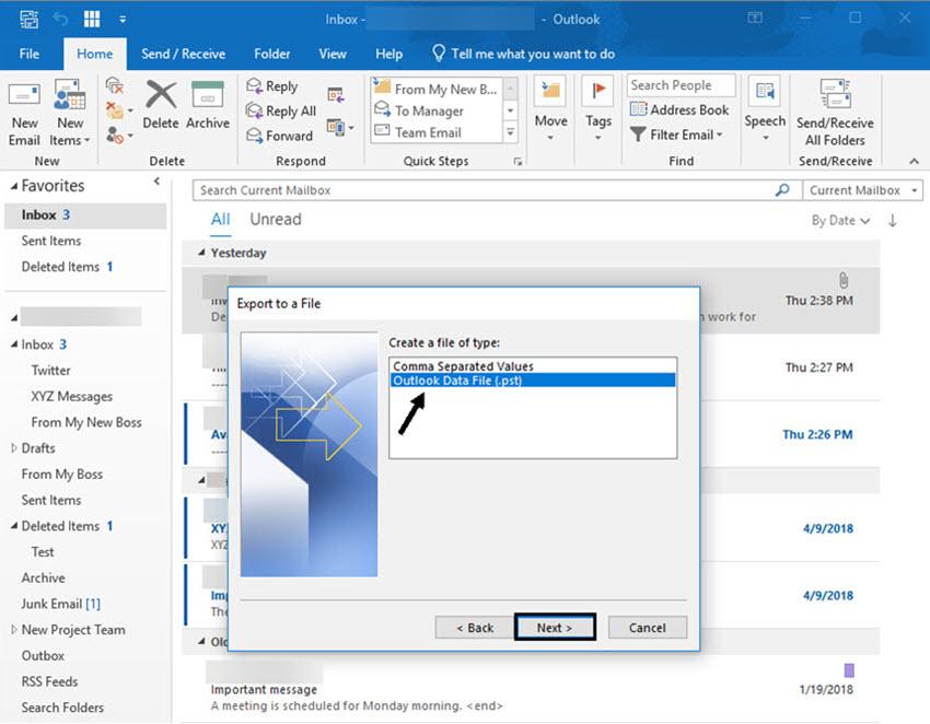 Choose Outlook PST file format