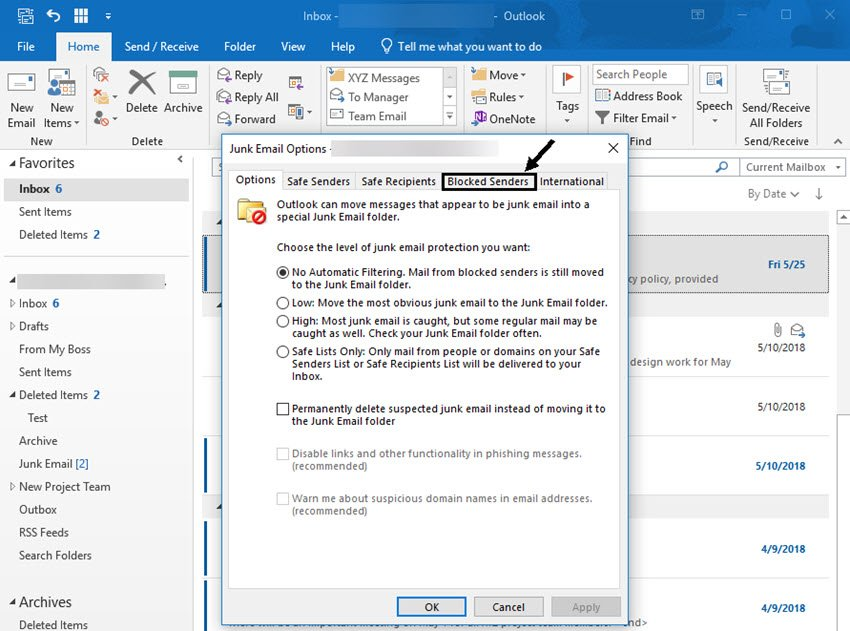 Junk email options dialog box
