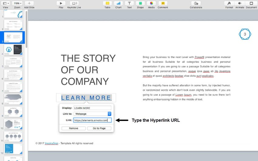 Type the Keynote hyperlink URL