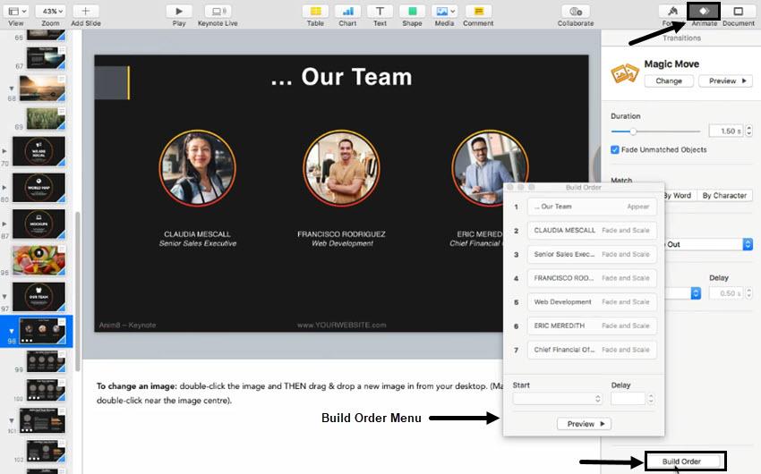 Build Order menu in Keynote