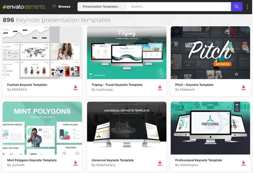 Keynote templates in Envato Elements