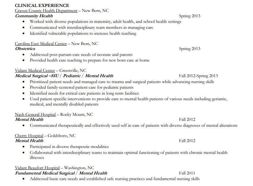 Resume History Section