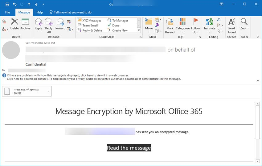 Encrypted email message