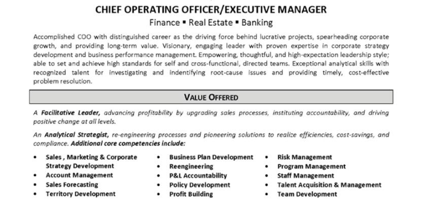 chief operating officer combination resume example
