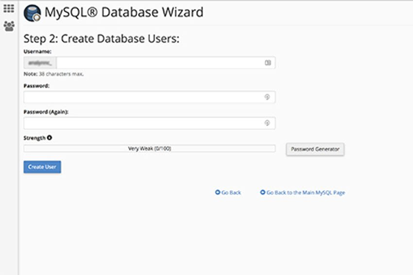 create a database user