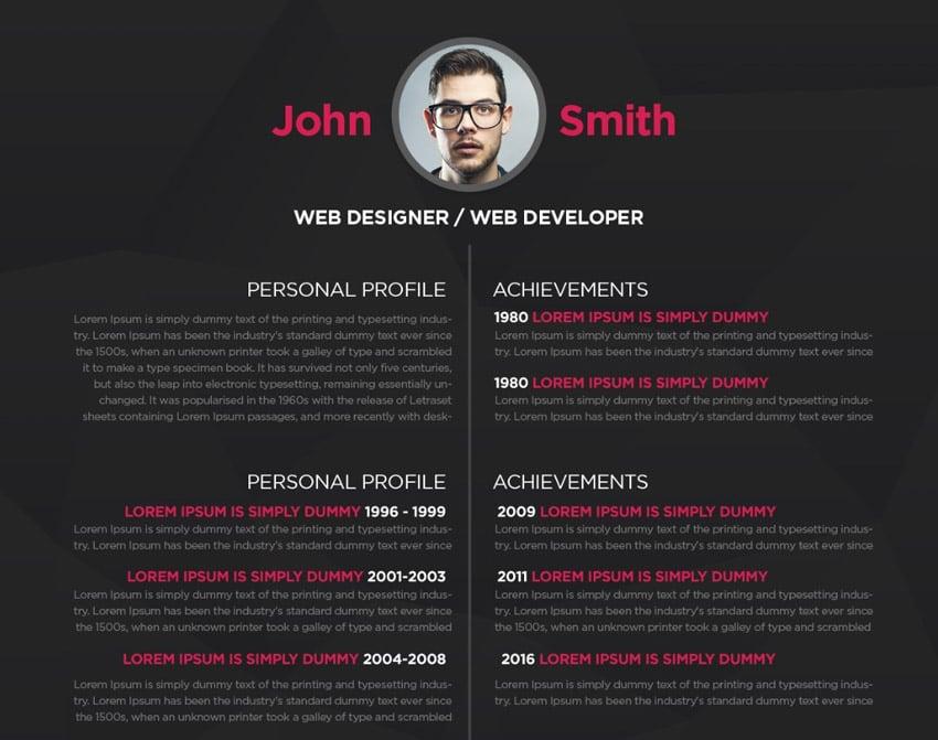 Dark Minimalistic Resume