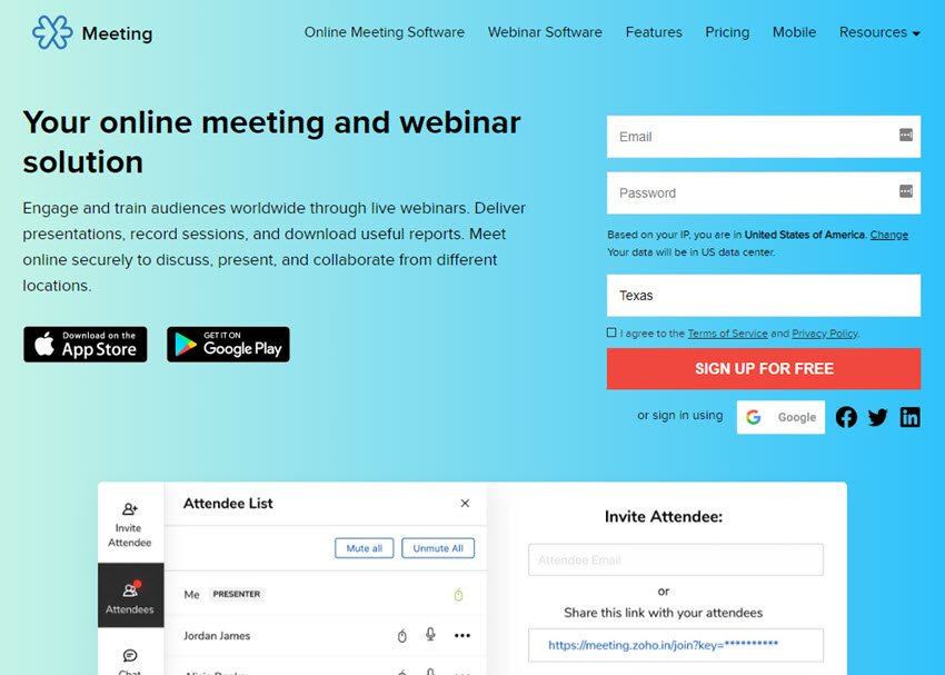 Web Conferencing Software Zoho Meeting