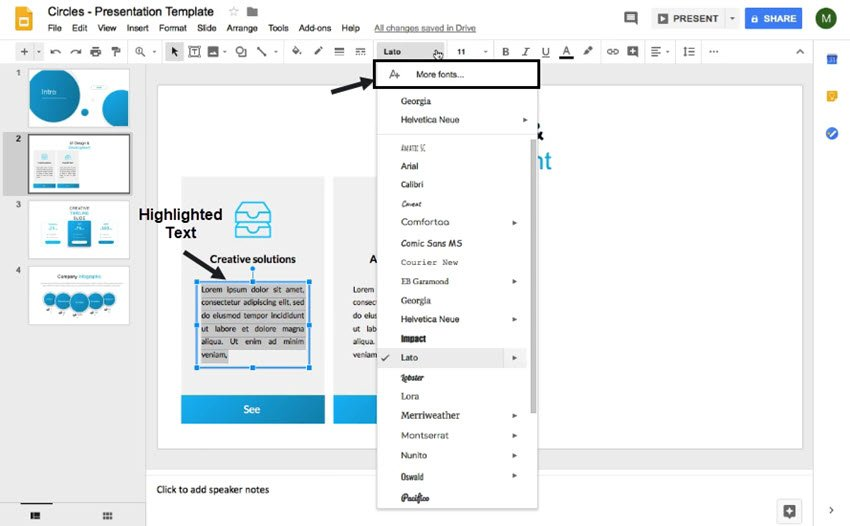 how to add new fonts to Google Slides from drop-down menu